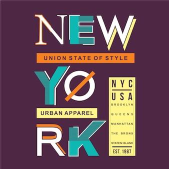 Nowojorski niesamowity projekt graficzny typografii