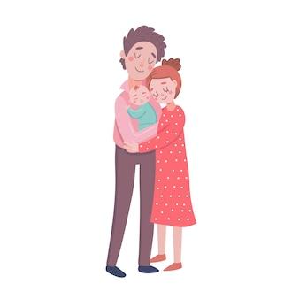 Nowonarodzeni rodzice trzymając dziecko.