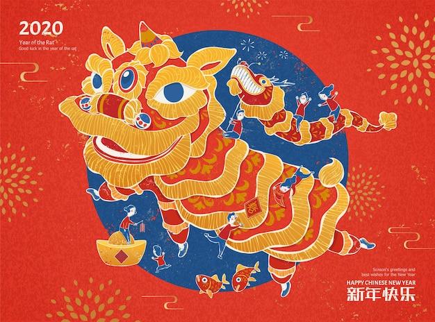 Noworoczna ilustracja tańca lwa w stylu sitodruku