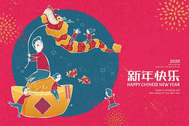 Noworoczna ilustracja tańca smoka w stylu sitodruku na różowym tle w kolorze fuksji