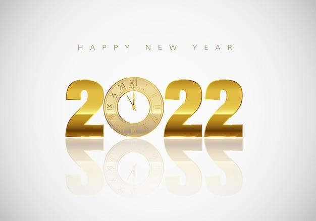 Noworoczna kartka z życzeniami złoty zegar zamiast zera w 2022 r.