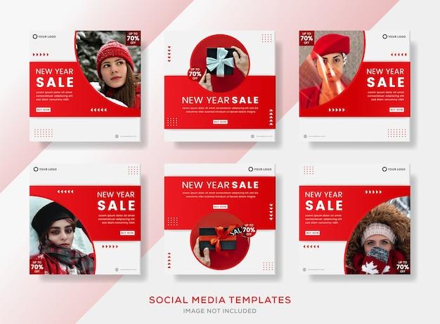 Noworoczna kolekcja banerów dla mediów społecznościowych.