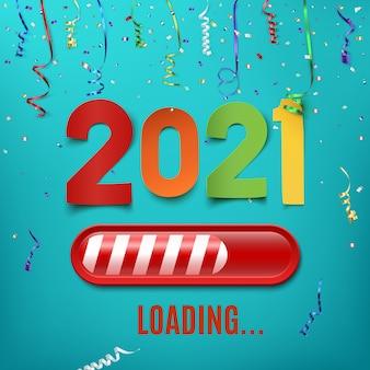 Noworoczny pasek ładujący 2021 ze wstążkami i konfetti.