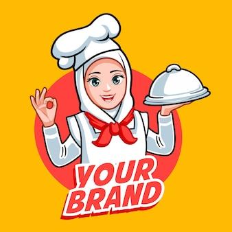 Nowość hidżab szef kuchni kobieta piękny szef kuchni