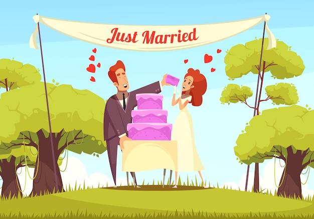 Nowożeńcy ilustracja kreskówka
