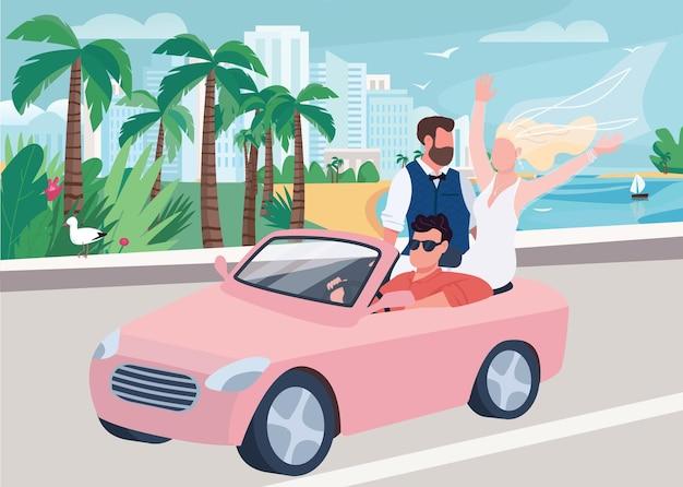 Nowożeńcy jazda samochodem płaska ilustracja. uroczystość ślubu. mężczyzna i kobieta na nadmorskiej drodze. panna młoda w sukni i szczęśliwy pan młody postaci z kreskówek z krajobrazem na tle
