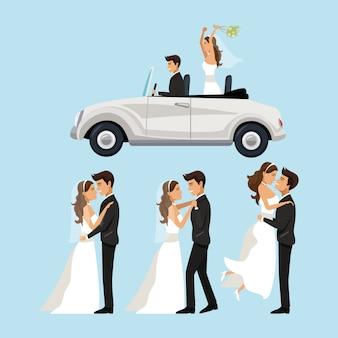 Nowożeńcy w różnych pozycjach i samochodzie