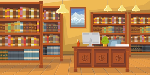 Nowożytna biblioteka z półka na książki ilustracją