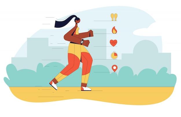 Nowożytna ilustracja dziewczyna biega outdoors. płaskie koncepcje strony internetowej, ulotki, baner z symbolami i plansza.