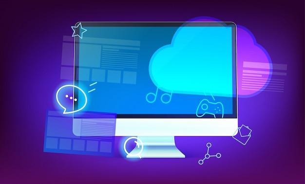 Nowożytna obłoczna technologii pojęcia ilustracja. nowoczesny komputer z błyszczącymi ikonami i chmurą