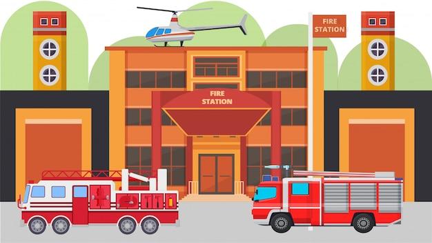 Nowożytna posterunku straży pożarnej budynku fasada i pożarniczy samochody ilustracyjni. pojazdy pożarnicze z wyposażeniem gotowym na wypadek awarii, wieże strażnicze, helikopter, garaż.