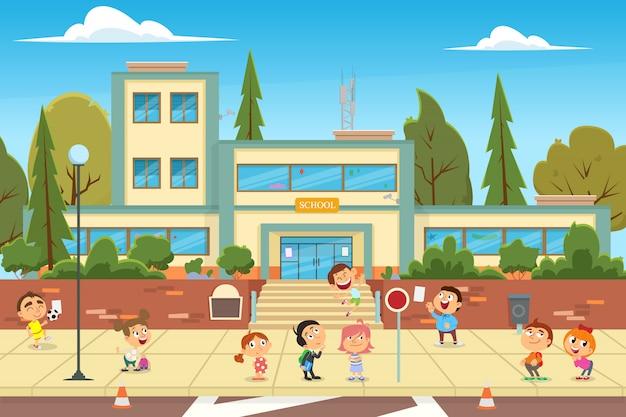Nowożytna szkoła, szkoła wyższa budynek na miasto ulicy tle.