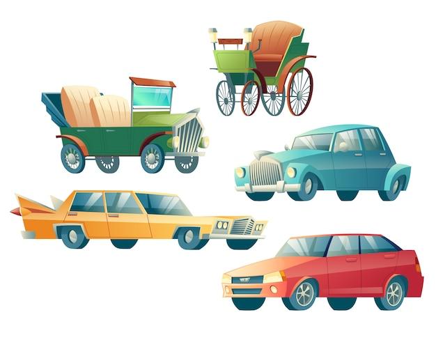 Nowożytne i retro samochód kreskówki wektorowe ikony ustawiają odosobnionego