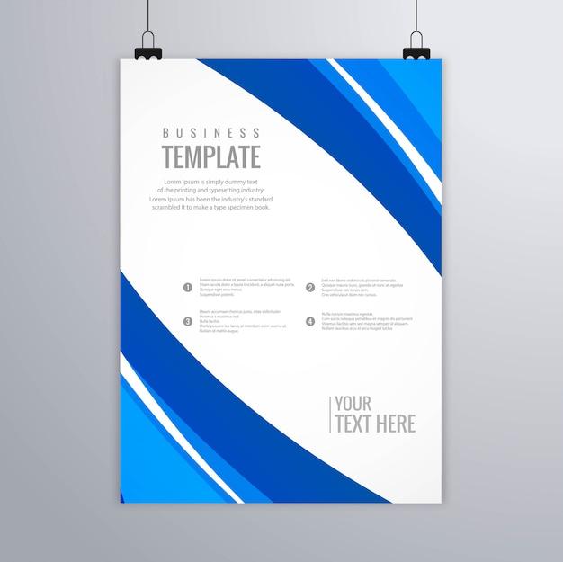 Nowożytnego błękitnego falistego biznesowego broszurka szablonu wektorowy projekt