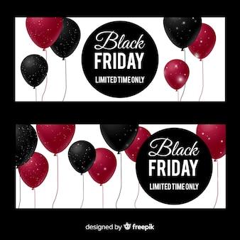 Nowożytni czarni piątek sztandary z realistycznymi balonami