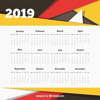Nowożytny 2019 kalendarzowy szablon z abstrakcjonistycznymi kształtami