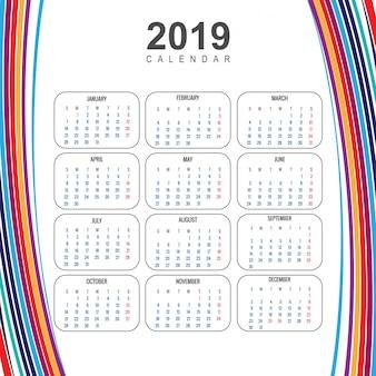 Nowożytny 2019 kolorowy kalendarzowy szablon z falowym wektorem