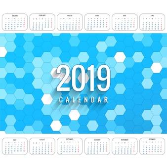 Nowożytny 2019 kolorowy kalendarzowy szablonu wektor