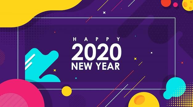 Nowożytny abstrakcjonistyczny sztandar szczęśliwy nowy rok 2020 z płaskim wektorem