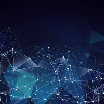 Nowożytny abstrakcjonistyczny wektorowy błękitny geometryczny tło. sieci pomysł kreatywny z poligons i linii