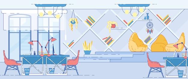 Nowożytny biurowy wnętrze z komputerowymi stołami wektorowymi