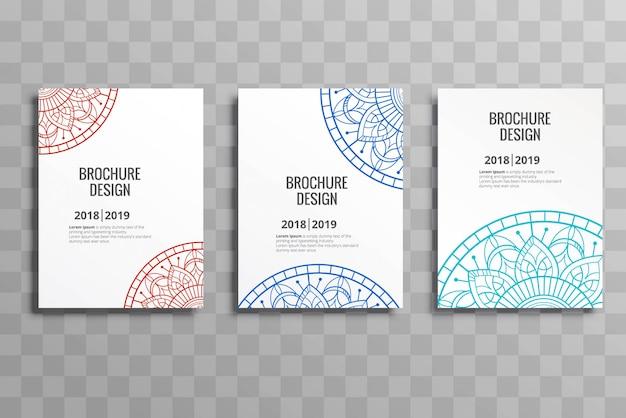 Nowożytny biznesowy broszurka mandalas szablonu ustalony projekt