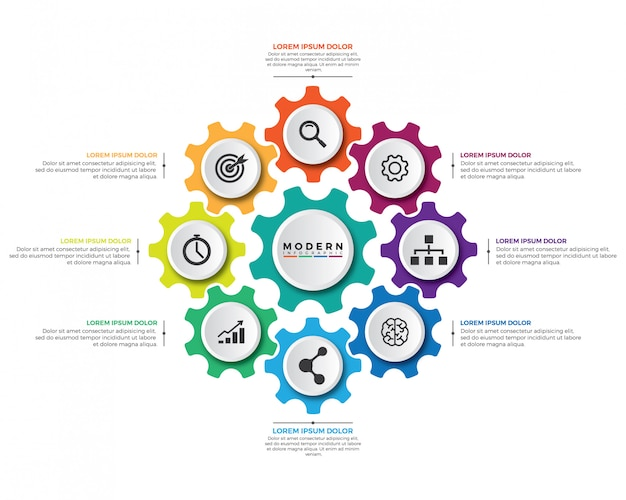 Nowożytny biznesowy mechanizmu infographic projekta szablon.