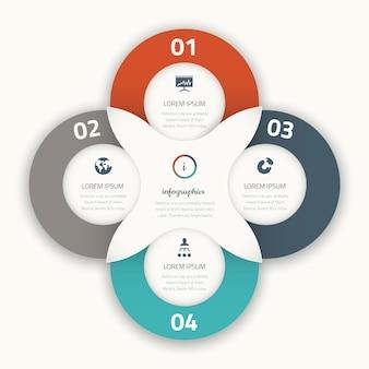 Nowożytny cztery infographic wektorowych opcj biznesowego szablonu ikon