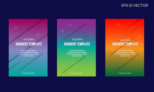 Nowożytny gradientowy kolorowy okładkowy szablonu set