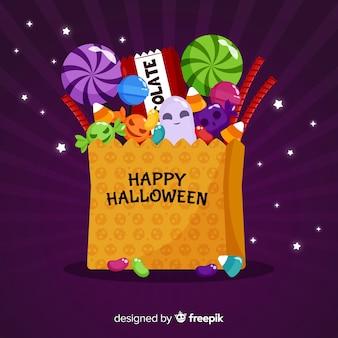 Nowożytny halloween cukierku torby tło