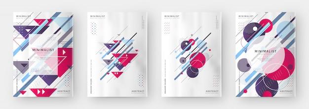 Nowożytny kolorowy abstrakcjonistyczny minimalny okładkowy szablon ustawia projekt