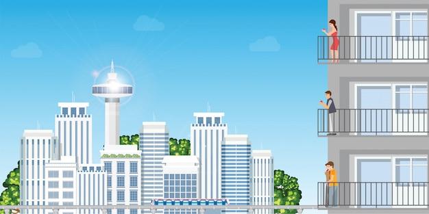 Nowożytny mieszkanie w miastowych pejzaży miejskich skycrapers z odpoczynkowym peoplein zmierzchem