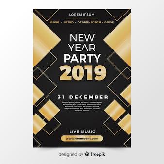 Nowożytny nowy rok przyjęcia plakat z abstrakcjonistycznym projektem