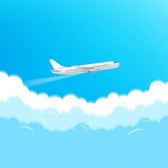 Nowożytny samolot lata w niebie. koncepcja podróży