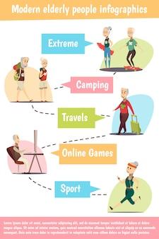 Nowożytny starszy ludzie infographic set