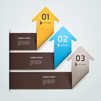 Nowożytny strzałkowaty origami styl podchodził numerowych opcj szablon. układ przepływu pracy, schemat, projektowanie stron internetowych, infografiki.