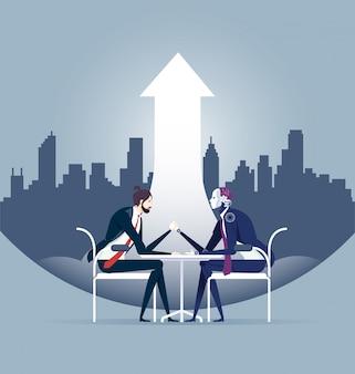 Nowożytny technologii pojęcie ludzki biznesmen