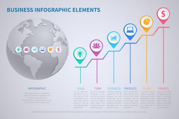 Nowożytny wektorowy biznesowy globalizacja infographic szablon z 3d światową kulą ziemską i mapami
