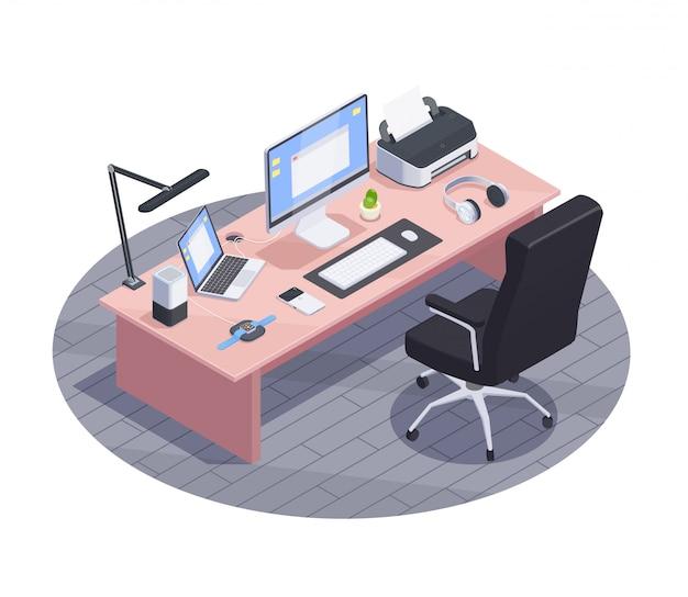 Nowożytnych urządzeń isometric skład z widokiem nowożytnego workspace z dużym stołem i elektronika użytkowa komputerami ilustracyjnymi