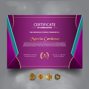 Nowy certyfikat osiągnięć nowy szablon