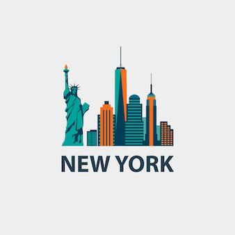 Nowy jork architektura ilustracja retro