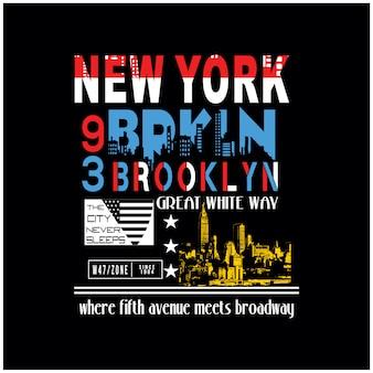 Nowy jork brooklyn na t shirt wektor graficzny