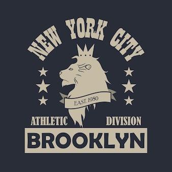 Nowy jork, druk typografii brooklyn z lwem. projektuj ubrania, odzież sportową, t-shirt. ilustracja wektorowa.
