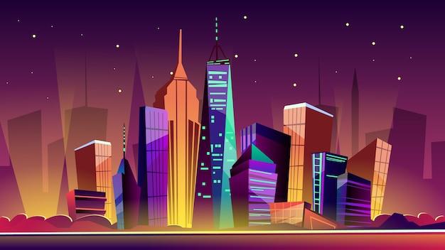 Nowy jork ilustracja miasta. cartoon new york zabytki w nocy, freedom tower
