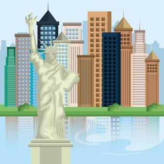 Nowy jork miasta pejzaż wektor ilustracja projektu