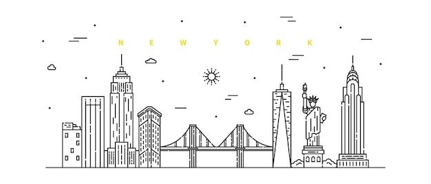 Nowy jork. nowoczesny krajobraz linii płaskiej. grafika liniowa pejzażu miejskiego z budynkiem, wieżą i drapaczami chmur.