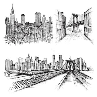 Nowy Jork Usa Ręcznie Rysowany Szkic Miejski Premium Wektorów