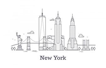 Nowy Jork zarys konspektu, sylwetka linii nyc, usa turystyczne i podróż wektor koncepcja