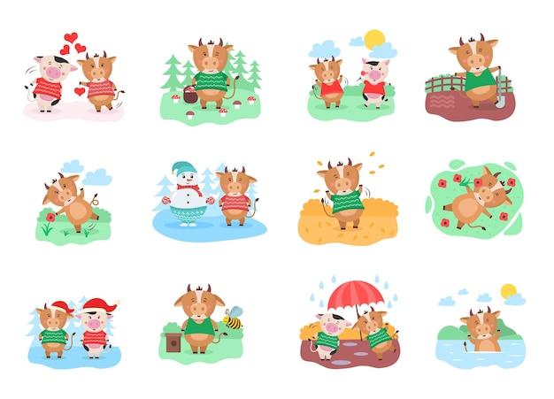 Nowy kalendarz dla dzieci na rok wołu zwierzęcego byka krowy chińskiego roku charakter