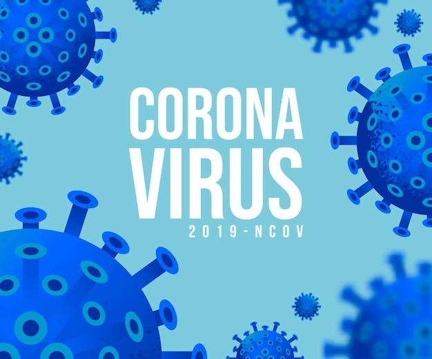 Nowy koronawirus 2019-ncov . wirus covid 19-ncp. koronawirus oznaczony jako ncov jest wirusem o jednoniciowym rna. tło z realistycznymi komórkami żółtego wirusa 3d. poziomy baner, plakat, nagłówek strony internetowej